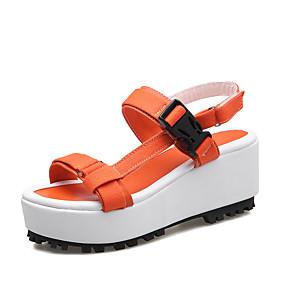 voordelige Wijdere maten schoenen-Dames Sandalen Creepers Open teen  Haak & Lus Kunstleer Comfortabel Lente / Zomer / Herfst Oranje / Geel / Roze