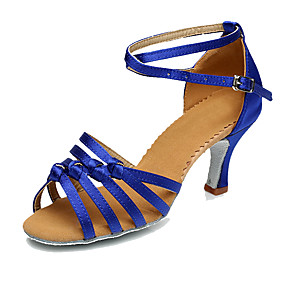 fc35ce4ae47 Γυναικεία Παπούτσια χορού λάτιν / Παπούτσια σάλσα Μετάξι Τακούνια  Προσαρμοσμένο τακούνι Εξατομικευμένο Παπούτσια Χορού Καφέ / Μπλε / Δερματί  / Εσωτερικό / ...