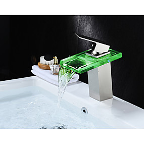 cheap Home Improvement-Bathroom Sink Faucet - Waterfall / LED Nickel Brushed Centerset Single Handle One HoleBath Taps / Brass