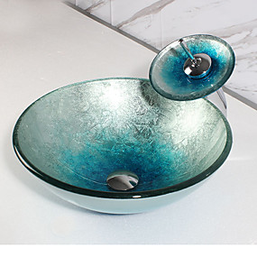 cheap Specials & Offers-Bathroom Sink / Bathroom Faucet / Bathroom Mounting Ring Contemporary - Glass Round Vessel Sink