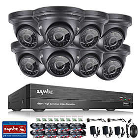olcso Napi akciók-Sannce® 8ch cctv biztonsági rendszer onvif 1080p ahd / tvi / cvi / cvbs / ip 5-in-1 DVR 8 * 2.0mpes vízálló kamerákkal nincs hdd
