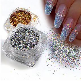 baratos Glitter para Unhas-1pç Paetês / Glitter Powder Elegante & Luxuoso / Brilho & Glitter / Nail Glitter Nail Art Design