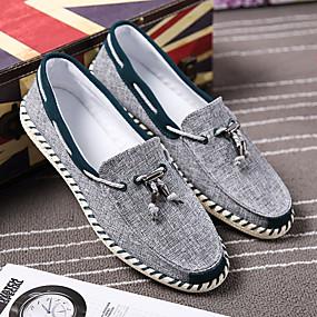 baratos Sapatos Náuticos Masculinos-Homens Solas Claras Tecido Primavera / Outono Conforto Sapatos de Barco Azul / Vinho