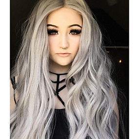cheap Uniwigs®-Synthetic Lace Front Wig Natural Wave Style Lace Front Wig Gray Grey Synthetic Hair Women's Ombre Hair Gray Wig Long Uniwigs Natural Wigs