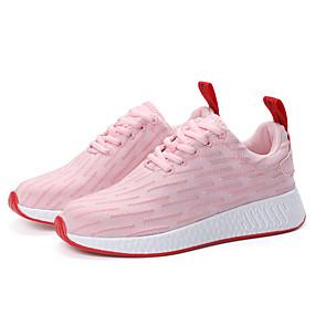 baratos Sapatos Esportivos Femininos-Mulheres Tênis Salto Baixo Cadarço Tecido Conforto Corrida Outono / Inverno Branco / Preto / Rosa claro