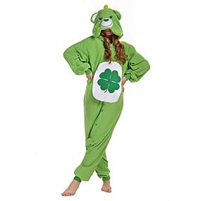 cheap Toys & Hobbies-Adults' Kigurumi Pajamas Bear Onesie Pajamas Polar Fleece Green Cosplay For Men and Women Animal Sleepwear Cartoon Festival / Holiday Costumes