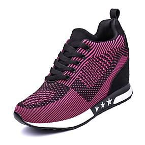 baratos Sapatos Esportivos Femininos-Mulheres Tênis Salto Plataforma Ponta Redonda Cadarço Tule Conforto Caminhada Primavera / Outono Roxo / Cinzento Escuro / Cinzento Claro / EU39