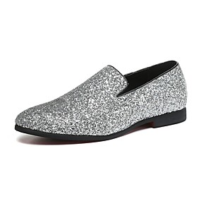 cheap Men's Shoes-Men's Novelty Shoes Paillette / Leather / Glitter Spring / Fall Comfort Loafers & Slip-Ons Walking Shoes Gold / Silver / Wedding / Party & Evening