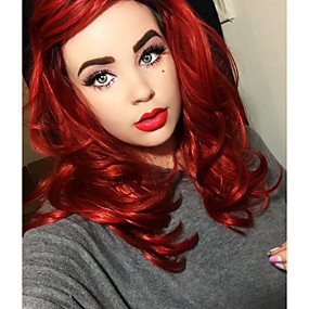 cheap Uniwigs®-Synthetic Lace Front Wig Natural Wave Style Layered Haircut Lace Front Wig Red Red Synthetic Hair Women's Red Wig Medium Length Uniwigs Natural Wigs