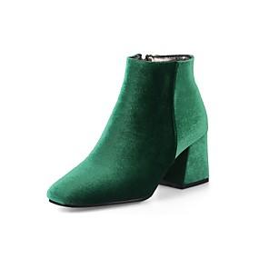 billige Mote Boots-Dame Støvler Velvet Boots Tykk hæl Kvadratisk Tå Glidelås Fløyel Ankelstøvler Komfort / Trendy støvler Vår / Høst Grønn / Vin / Mandel / Bryllup / Fest / aften / EU42