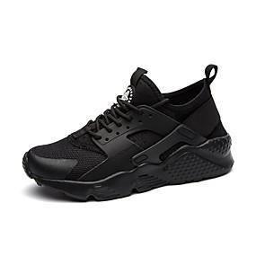 baratos Tênis Masculino-Homens Sapatos Confortáveis Com Transparência / Couro Ecológico Outono / Inverno Tênis Preto / Branco / Preto / Branco / Atlético / Cadarço / Solas Claras / EU40