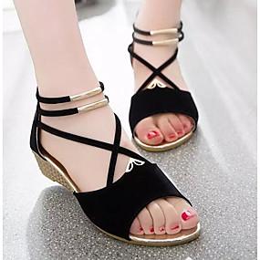cheap Women's Shoes-Women's Sandals Wedge Heel Nubuck leather / Suede Comfort Spring / Summer Beige / Red / Blue / EU39