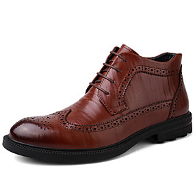 baratos Botas Masculinas-Homens Sapatos Confortáveis Pele Napa Outono / Inverno Botas Botas Cano Médio Preto / Marron / Festas & Noite / Festas & Noite