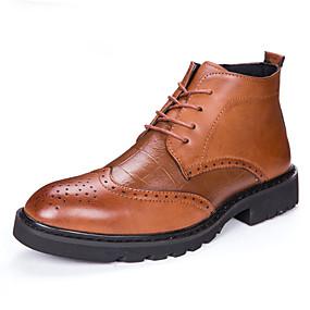 baratos Botas Masculinas-Homens Fashion Boots Couro Outono / Inverno Casual Botas Botas Curtas / Ankle Preto / Marron / Festas & Noite / Cadarço / Festas & Noite / EU40