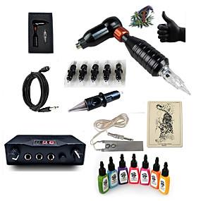 billige Tatoveringssett for nybegynnere-Tattoo Machine Startkit - 1 pcs tattoo maskiner med 7 x 15 ml tatovering blekk, Profesjonell Mini strømforsyning 1 x roterende