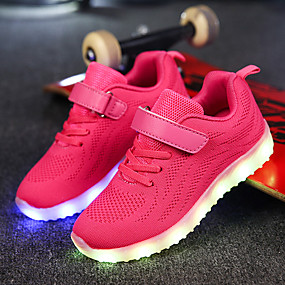 cheap LED Shoes-Boys' Shoes Net / Fabric Fall Comfort / Light Up Shoes Athletic Shoes Magic Tape / LED for Dark Blue / Gray / Pink / EU37