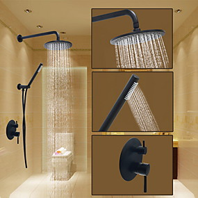 cheap Top Sellers-Shower Faucet - Round Oil-rubbed Bronze Shower System Ceramic Valve Bath Shower Mixer Taps / Brass