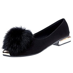 voordelige Damesschoenen met platte hak-Dames Platte schoenen Platte hak Gepuntte Teen Veer PU Comfortabel Herfst / Winter Zwart / Grijs / Groen