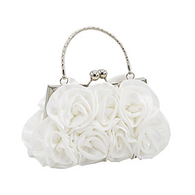 cheap Shoes & Bags & Jewelry & Watches-Women's Bags Satin Evening Bag Flower Black / Red / Silver / Wedding Bags / Wedding Bags