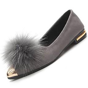 voordelige Damesinstappers & loafers-Dames Platte schoenen Platte hak Gepuntte Teen Nubuck leder Mocassin Winter Zwart / Grijs / Groen