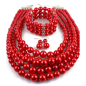 cheap Essential Accessorices For Every Ladies-Women's Pearl Layered Jewelry Set Imitation Pearl Statement, Ladies, Asian, Elegant Include Drop Earrings Pearl Strands Pearl Necklace Red / Wine / Grey For Casual Evening Party