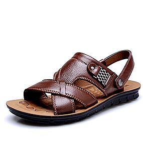 voordelige Wijdere maten schoenen-Heren Schoenen Leer Lente Zomer Comfortabel voor Causaal ulko- Zwart Oranje Bruin