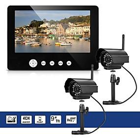 billige Sikkerhedssystemer-2 x digitalkamera med 9 lcd skærm dvr trådløst sæt hjemme cctv sikkerhedssystem