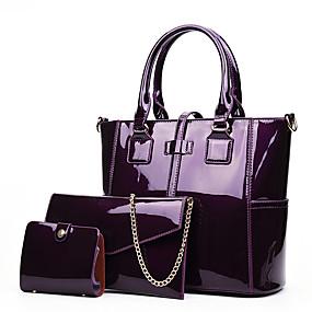 preiswerte Taschensets-Damen Taschen Lackleder Bag Set 3 Stück Geldbörse Set Reißverschluss Schwarz / Rote / Purpur