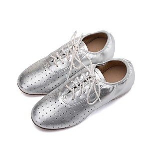 59313f31327a Women s Jazz Shoes Nappa Leather Flat   Oxford Flat Heel Customizable Dance  Shoes Gold   Black   Silver