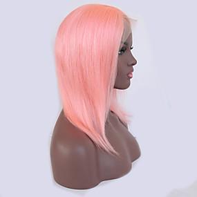 billige Pink & Red Lace Wigs-Ekte hår Blonde Forside Parykk Bobfrisyre Kardashian stil Brasiliansk hår Rett Lyserød Parykk 130% Hair Tetthet med baby hår Naturlig hårlinje Blekte knuter Dame Kort Blondeparykker med menneskehår