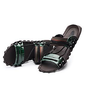 baratos Sandálias Masculinas-Homens Pele Verão Conforto Sandálias Azul / Vinho / Verde Escuro