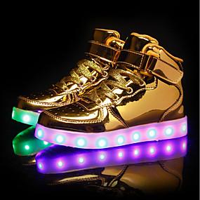 abordables Chaussures pour Fille-Garçon / Fille Chaussures Polyuréthane Printemps Chaussures Lumineuses Basket LED pour Blanc / Noir / Argent