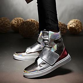 baratos Tênis Masculino-Homens Sapatos Confortáveis Couro Ecológico Outono / Inverno Tênis Preto / Prata / EU40