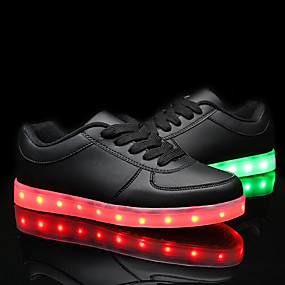 cheap LED Shoes-Men's / Women's Shoes PU(Polyurethane) Spring / Fall Comfort / Light Up Shoes Sneakers Flat Heel LED White / Black