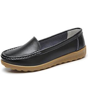 abordables Chaussures Plates pour Femme-Femme Chaussures en cuir Cuir Printemps été Minimalisme Ballerines Talon Plat Bout rond Blanc / Noir / Rouge