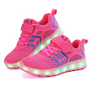 0bd512f42eca Pige Sko Strik   Tyl Forår Komfort   Lysende Sko Sneakers LED for Sort    Mørkeblå   Lys pink