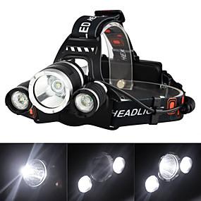 hesapli Fenerler-Kafa Lambaları Bisiklet Farı LED Cree® XM-L T6 3 Emitörler 3000 lm 4.0 Işıtma Modu Şarj Aleti ile Şarj Edilebilir Strike Bezel Kamp / Yürüyüş / Mağaracılık Seyahat