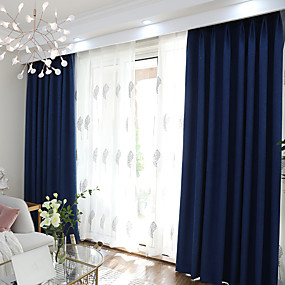 Blackout Curtains Drapes Bedroom Solid Colored Polyester Blend Yarn Dyed