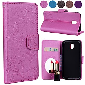 cheap Cellphone Case-Case For Samsung Galaxy J5 (2017) / J3 (2017) Card Holder / Flip / Pattern Full Body Cases Solid Colored / Butterfly Hard PU Leather for J7 Prime / J7 (2017) / J7 (2016)