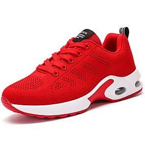 baratos Sapatos Esportivos Femininos-Mulheres Tênis Salto Baixo Ponta Redonda Materiais Customizados / Tecido Conforto / Forro de peles Corrida Outono / Inverno Preto / Cinzento / Vermelho