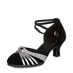 3103f3af905 Dámské Boty na moderní tance   Standardní Semiš Podpatky Na zakázku  Obyčejné Taneční boty Černá a Sliver   Black and Gold   Stříbro   Kůže