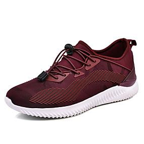 baratos Sapatos Esportivos Masculinos-Homens Sapatos Confortáveis Tule / Couro Ecológico Outono Tênis Corrida / Caminhada Estampa Colorida Preto / Vinho / Cinzento