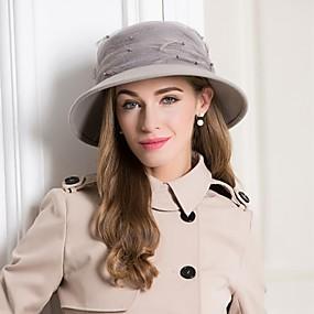 povoljno Kentucky Derby Hat-Vuna Kentucky Derby Hat / kape s Perje / Faux Pearl 1pc Vjenčanje / Zabava / večer Glava