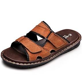 baratos Sandálias Masculinas-Homens Sapatos Confortáveis Pele Verão / Outono Sandálias Água Preto / Marron / Casual / Ao ar livre / Coturnos