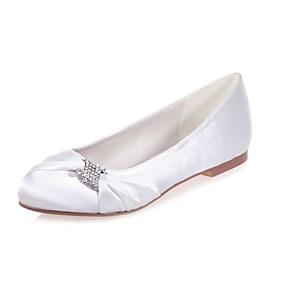 cheap Women's Flats-Women's Shoes Satin Spring & Summer Ballerina Flats Flat Heel Round Toe Rhinestone White / Purple / Ivory / Wedding / Party & Evening