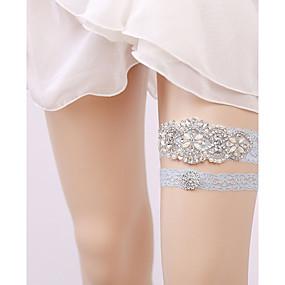 billige Strømpebånd til bryllup-Blonder Vintage Stil Bryllupsklær Med Rhinsten Strømpebånd Bryllup / Fest / aften