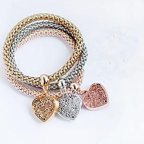 baratos Pulseira de Charme-Pulseiras com Pendentes Coração senhoras Fashion Liga Pulseira de jóias Amarelo Claro / Marron / Champanhe Para Presente Diário