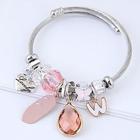 baratos Pulseira de Charme-Mulheres Pulseiras com Pendentes Coração Pena Europeu Fashion Liga Pulseira de jóias Cinzento / Rosa claro Para Diário