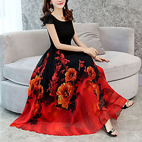 abordables Robes Rouge-Femme Fleur Grandes Tailles Sortie Long Midi Ample Mousseline de Soie Balançoire Robe - Imprimé, Fleur Vert Rouge Violet XXXL XXXXL XXXXXL Manches Courtes