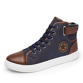 baratos Tênis Masculino-Homens Sapatos Confortáveis Couro Sintético Outono Tênis Preto / Azul / Khaki